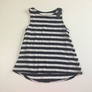 Crown & Ivy Navy/White Striped Girls Tank | L